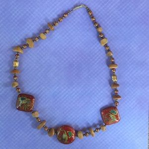 Jewelry - Vintage Asian-inspired cloisonné look necklace